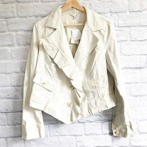 CAbi #325 Ruffle Up Linen Jacket